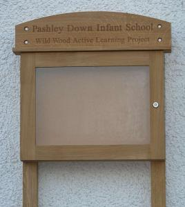 lockable oak notice board