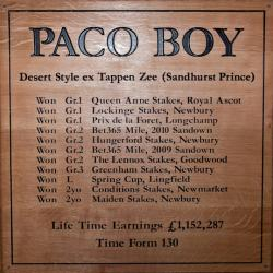 paco boy horse racing sign