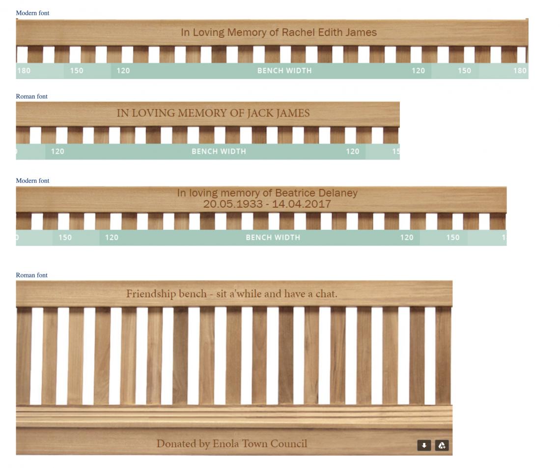 memorial bench fonts
